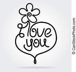 lakás, virág, szív, valentin nap, stilizált, felirat, tervezés, szeret, ön, style., ikon