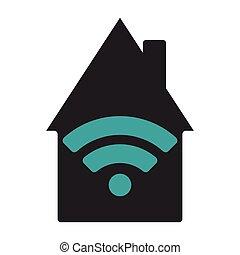 lakás, wifi, house., ábra, háttér., vektor, fehér