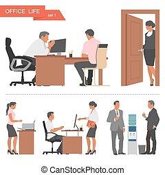 lakás, workers., hivatal, ügy emberek, elszigetelt, ábra, háttér., vektor, tervezés, fehér