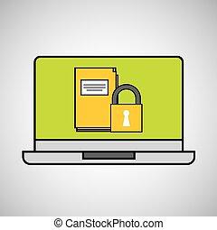 lakat, laptop, fogalom, biztonság, reszelő