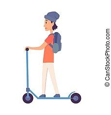 lakbér, modern, ábra, lakás, ember, lovaglás, fiatal, vektor, ride., álló, jelentékeny, pose., szolgáltatás, mód, emberek, eco, szállít, gyors, roller, electric., külső, tervezés