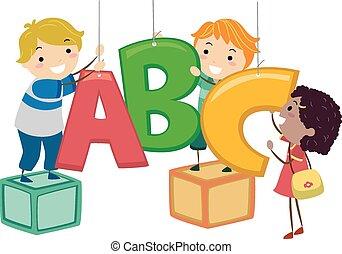 lakberendezési tárgyak, gyerekek, stickman, ábécé