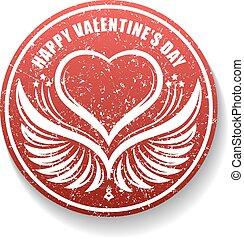 lakberendezési tárgyak, szív, valentine's, bélyeg, kasfogó, mód, nap, gumi, felirat, árnyék, kerek, boldog