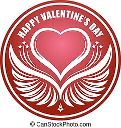 lakberendezési tárgyak, szív, valentine's, kasfogó, nap, felirat, árnyék, kerek, boldog