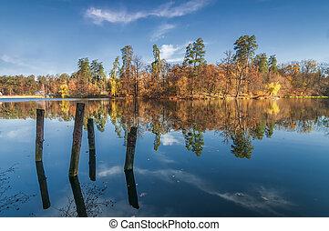 lake., kék, ősz