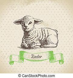 lamb., húsvét, ábra, háttér, szüret, kéz, húzott