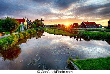landcape, németalföld, szélmalom, napnyugta, canal., hagyományos, holland