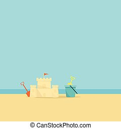 lapát, háttér, vödör, labda, tenger, tengerpart