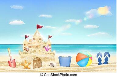 lapát, vödör, homok, labda, tenger, bástya tengerpart