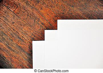 lap papír, fából való, három, fekvő, felszín, fehér