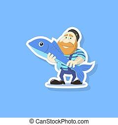 lapos rajzóra, csinos, fish, ábra, vektor, halász, karikatúra