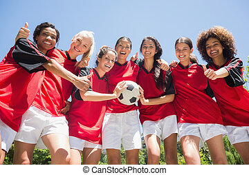 lapozgat, futball, feláll, gesztus, játékosok