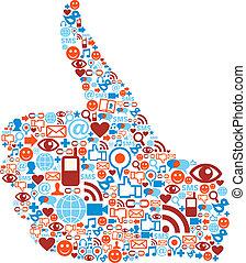 lapozgat, ikonok, média, feláll, kéz, társadalmi