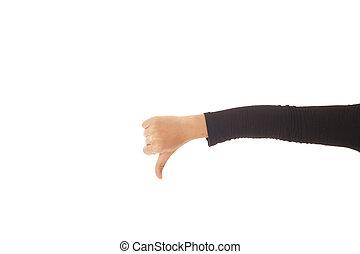 lapozgat, kéz, lefelé, háttér., női, fehér