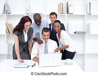 laptop, befog, ügy, munka