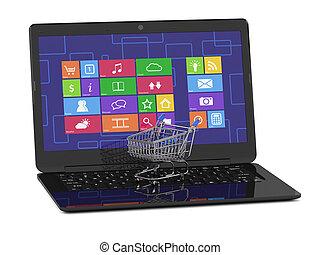 laptop, bevásárlókocsi