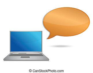 laptop, buborék, üzenet