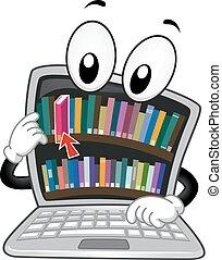 laptop, digitális, könyvtár, ábra, kabala