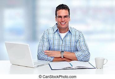 laptop, dolgozó, computer., ember