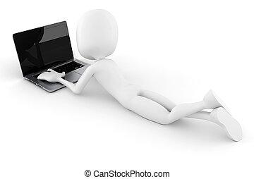 laptop, elszigetelt, háttér, fehér, 3, ember