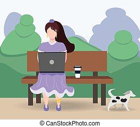 laptop, fogalom, bírói szék, park., izolál, művek, covid-19, woman ül, időz, esedékes, szabadúszás