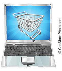 laptop, fogalom, bevásárlás, internet