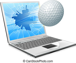 laptop, fogalom, golf, ellenző, labda