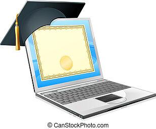 laptop, fogalom, oktatás