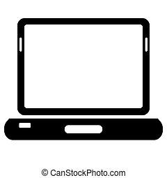 laptop, háttér., vektor, fekete, fehér, ikon