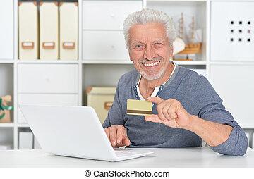 laptop, hitel, birtok, idősebb ember, kártya, ember