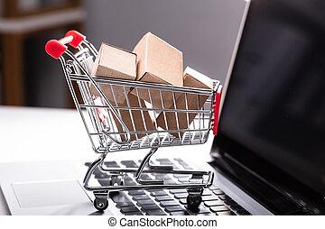 laptop, kartonpapír, bevásárlás, dobozok, kordé