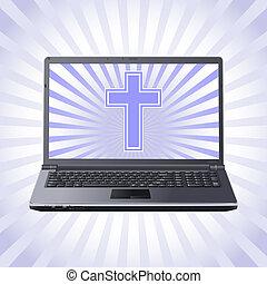 laptop, kereszt