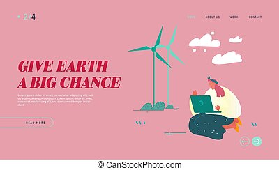 laptop, lakás, windmills, vektor, természet, szennyezés, nő, háló, melegítés, website, globális, világ-, föld, vizsgál, probléma, felolvasás, hír, ábra, leszállás, page., karikatúra, helyzet, banner., ül, oldal