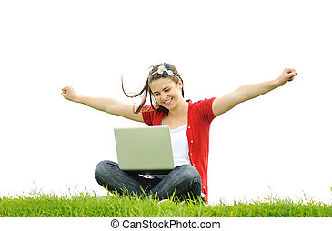 laptop, nő, boldog