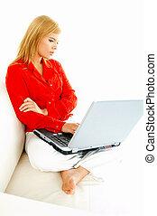 laptop, nők, dívány