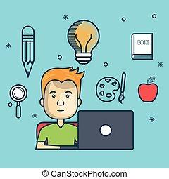 laptop, oktatás, tervezés, pasas, online