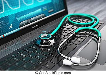 laptop, szoftver, sztetoszkóp, orvosi, tüneti