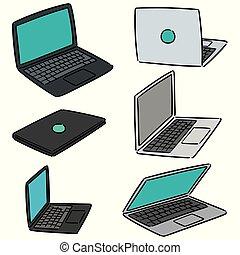 laptop, vektor, állhatatos