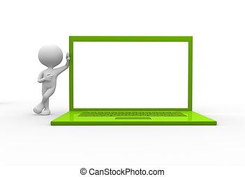 laptop, zöld
