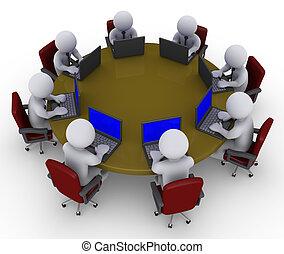 laptops, asztal, businessmen, mindenfelé