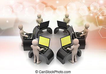 laptops, látszó, businessmen, mindenfelé, asztal