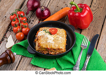 lasagna, derékszögben, olasz, tányér