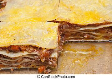 lasagna, finom, darabok