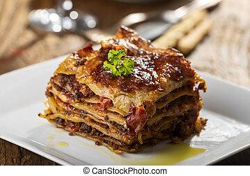 lasagna, porció, tányér