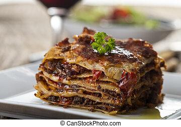 lasagna, tányér, porció