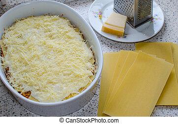 lasagne, előkészítés, bolognese