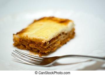 lasagne, tányér, házi készítésű