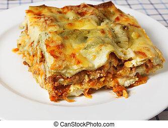 lasagne, verde, szelet