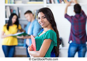 latin, diákok, amerikai, női, csoport, diák, mosolygós