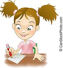 leány, írás, fiatal, íróasztal, neki
